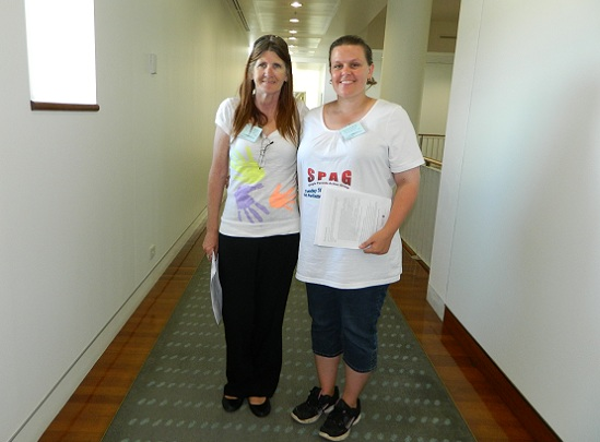 Kathy Lee and Michelle Lee, lobbying parents at Parliament House