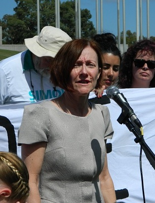 Greens' Senator Rachel Siewert speaking at the Canberra Rally