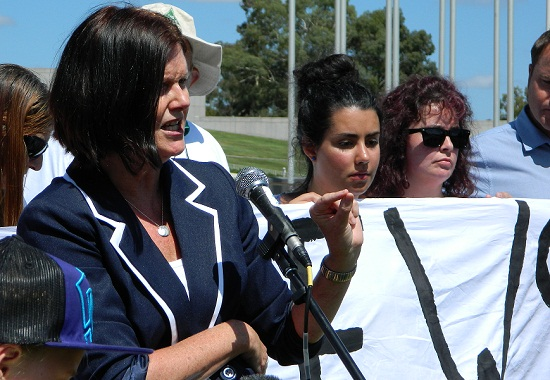 Cassandra Goldie, ACOSS CEO, fights for single parents welfare at the SPAG Canberra Rally
