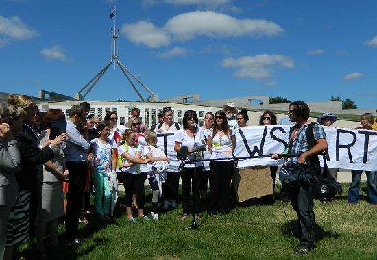 Samantha Seymour, SPAG organiser, speaks at the Canberra Parliament House Rally