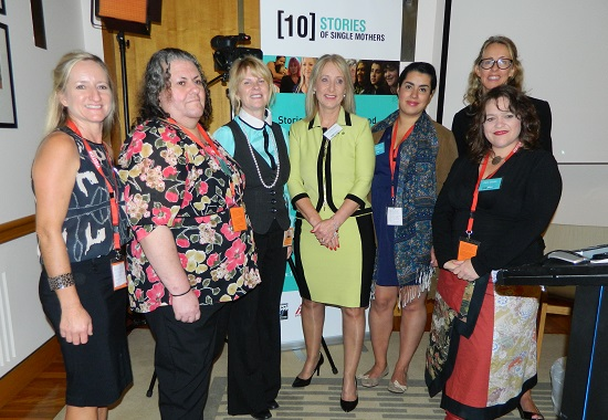 Terese Edwards, NCSMC (centre) with Karen McNamarra MP and four of the mothers from the 10 Stories of Single Mothers documentary - Wendy, Barbara, Bianca and Kerry