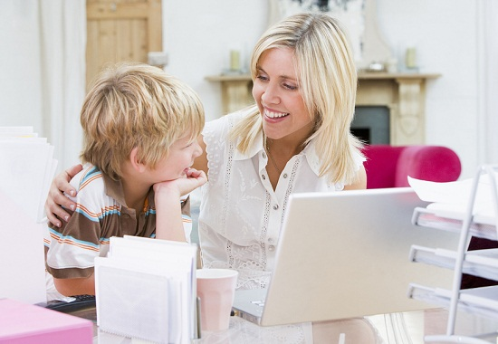 working mother family life balance survey - stock photo