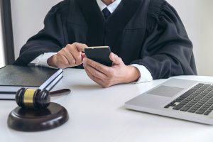 Judge on phone