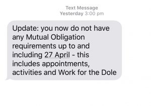 Centrelink text message notifying that mutual obligations are suspended