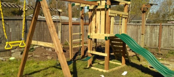 A children's playset is great for outside play